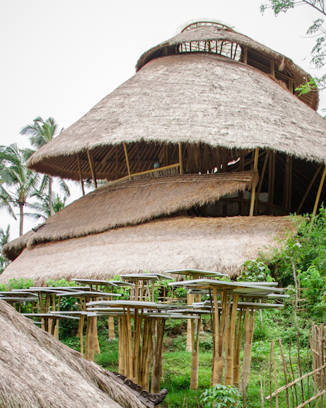Heart of School, curved bamboo building designed after the shape of a double-helix